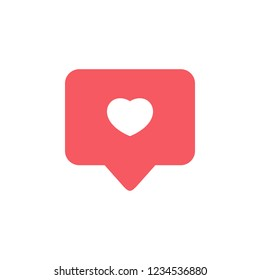 Notifications icon. Like icon vector. social media Like vector icon. Instagram like notification.