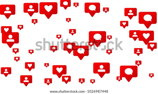 Notifications with Likes, Followers and Comments. Social Media Marketing. Rating Scale Elements of Design for Web, Advertisement, Promotion, Marketing. Concept for Follow Icon Illustration