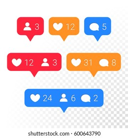 Notifications vector icons templates. Social network app symbols of heart like, new message bubble, friend request quantity number. Smartphone application messenger interface web notice elements set