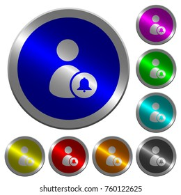 Notify user icons on round luminous coin-like color steel buttons