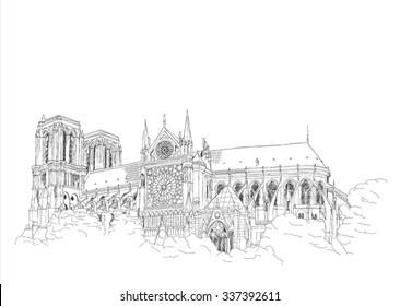 Notre Dame Carthedral in Paris - urban sketch