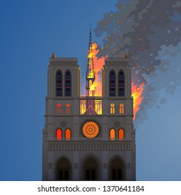 Notre Dame Cathedral is engulfed in flames. April 15, 2019, France, Paris. Editorial vector image. Tragic loss of the famous Gothic building. Blazing spire against the twilight sky. Devastating fire