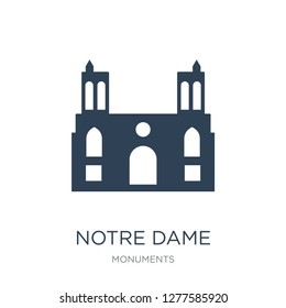 notre dame cathedral icon vector on white background, notre dame cathedral trendy filled icons from Monuments collection, notre dame cathedral vector illustration