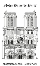 Notre Dame Cathedral (Landmark of Paris, France) vector isolated hand drawing illustration in black color on white background