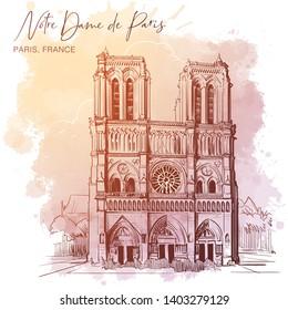 Notre Dame de Paris cathedral beautiful facade. Paris, France. Linear sketch on a watercolor textured background. Vintage design. Travel sketchbook drawing. EPS10 vector illustration