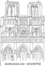 Notre Dame de Paris Cathedral, France. Hand drawing sketch vector illustration of french travel landmark.