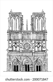 Notre Dame de Paris Cathedral, France. Hand drawing sketch vector