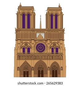 Notre Dame de Paris Cathedral, France. Vector isolated illustration.