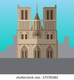 Notre Dame de Paris Cathedral, France vector illustration. Flat style icon. Most famous world landmark. Travel flat design vector graphics