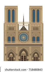 Notre Dame de Paris in France isolated on white background vector illustration flat