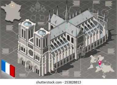 Notre Dame de Paris Isometric Infographic. 3D isometric infographic representing Notre Dame de Paris landmark building with geolocation elements Vector Illustration.
