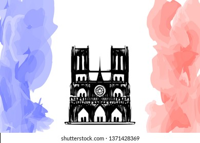 "Notre Dame de Paris on fire. Vector sketch postcard. Tragedy for France culture. Cathedral ""Our lady of Paris"". French landmark in hand drawing style. Catholic church Silhouette and red flame for news"
