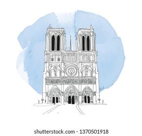 notre dame de paris sketch. hand drawn notre dame cathedral vector illustration.