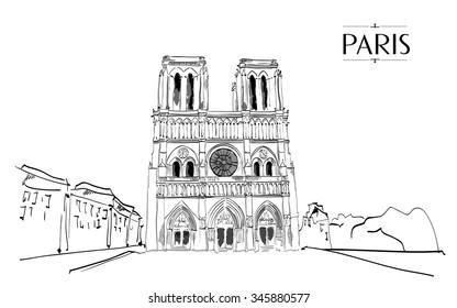 Notre Dame de Paris. Vector illustration, vintage sketch style