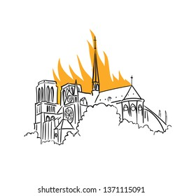 Notre-Dame de Paris fire. Tragic news from France. View of the spire. Cathedral is engulfed flames. Vector Illustration.