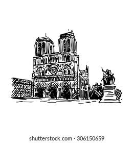 Notre-Dame de Paris. Vector quick sketch