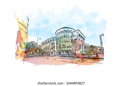 Nottingham City in England. Watercolor splash with hand drawn sketch illustration in vector.