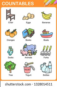 Nouns the can be  countable - Worksheet for education.