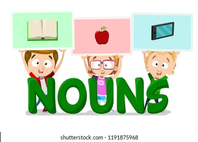 Nouns in English language school banner. Kids holding pictures of book, apple and mobile phone. Funny preschool pupils learning elementary english grammar. Primary school education vector illustration