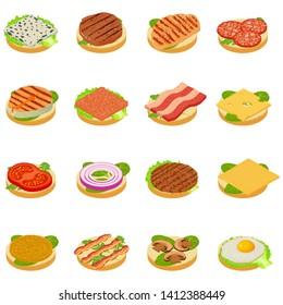 Nourishment icons set. Isometric set of 16 nourishment vector icons for web isolated on white background