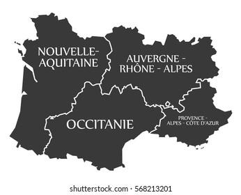 Nouvelle, Aquitaine, Occitanie, Auvergne, Provence Map France illustration