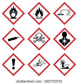 Nouvelle classification des produits chimiques. Ghs Warning signs. Vector danger hazardous sign. Klasyfikacji i Oznakowania Chemikaliów. Kennzeichen Set Sammlung Symbole Piktogramme.