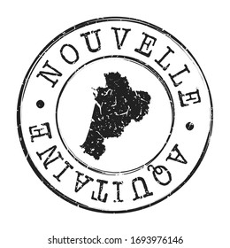 Nouvelle-Aquitaine, France Map Postmark. A Silhouette Postal Passport. Stamp Round Vector Icon. Vintage Postage Designs.