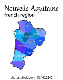 Nouvelle-Aquitaine french region map on white