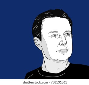 Nov, 2016: The famous entrepreneur and spacex founder Elon Musk vector portrait on a blue background.