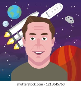 Nov, 2018: Elon Musk against the background of space and rocket SpaceX, earth, stars and the moon. Vector portrait. EPS10