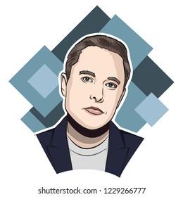 NOV 2018. Elon Musk vector portrait.