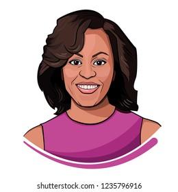 NOV 2018. Portrait of Michelle Obama,  wife of Barrack Obama.