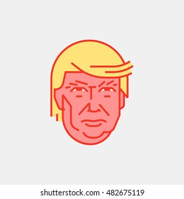 Nov. 8 2016. Modern vector illustration of a portrait of businessman and presidential candidate Donald Trump. US election 2016. Editorial Designation.