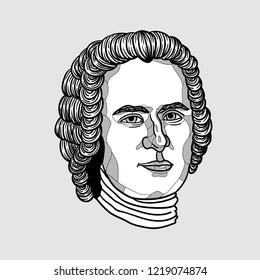 Nov.2, 2018: Vector illustration hand drawn. Jean-Jacques Rousseau