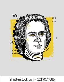 Nov.2, 2018: Vector illustration hand drawn. Jean-Jacques Rousseau. Creative portrait.