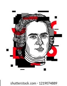 Nov.2, 2018: Vector illustration hand drawn. Jean-Jacques Rousseau. Glitch