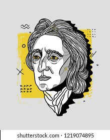 Nov.2, 2018: Vector illustration hand drawn. John Locke. Creative portrait.