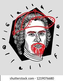 Nov.2, 2018: Vector illustration hand drawn.  Jean-Jacques Rousseau. Modern / crazy / mad sculpture. Man with cap and beard.