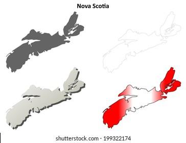 Nova Scotia blank outline map set - vector version
