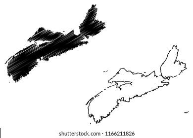 Nova Scotia (provinces and territories of Canada) map vector illustration, scribble sketch Nova Scotia map