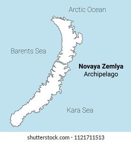 Novaya Zemlya vector map. Outline map in the middle of the ocean