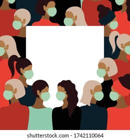 Novel 2019-nCoV coronavirus in china. Border frame of women wearing white medical face masks. Colourful concept vector illustration.