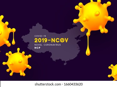Novel Coronavirus (2019-nCoV). China pathogen respiratory coronavirus 2019-nCoV originating in Wuhan, Asia-China map infographics. Virus Covid 19-NCP. nCoV denoted is single-stranded RNA virus.