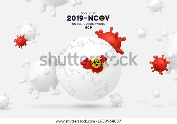 Novel Coronavirus (2019-nCoV). China pathogen respiratory coronavirus covid19 originating in Wuhan, Asia-China map infographics. Virus Covid 19-NCP.