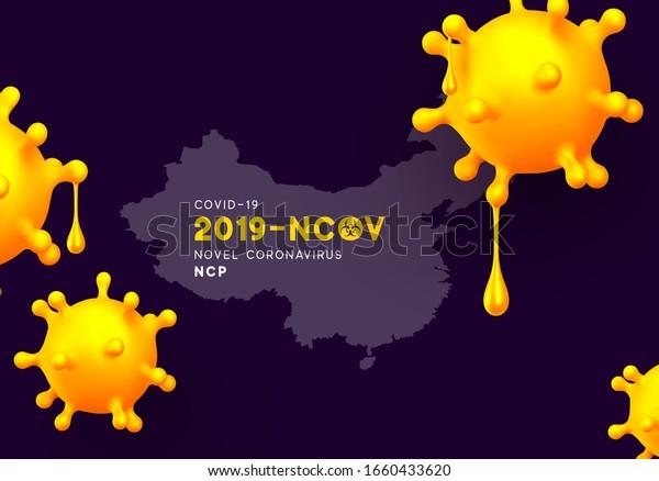 Novel Coronavirus (2019-nCoV). China pathogen respiratory coronavirus 2019-nCoV originating in Wuhan, Asia-China map infographics. Virus Covid 19-NCP. nCoV denoted is single-stranded RNA virus.