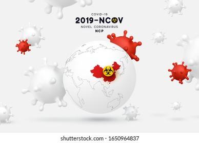 Novel Coronavirus (2019-nCoV). illness respiratory coronavirus covid19 originating in Wuhan, Asia-China map infographics. Virus Covid 19-NCP.