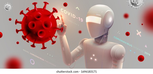 Novel coronavirus (2019-nCoV) robotic artificial intelligence research. Covid-19 virus vaccine search. 3D coronavirus cell vector illustration for medical and science concept. Eps10