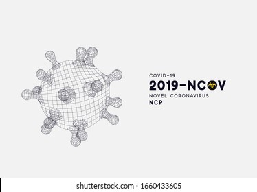 Novel Coronavirus (2019-nCoV). Virus Covid 19-NCP. Coronavirus nCoV denoted is single-stranded RNA virus. Background with viral cell polygon mesh. Linear outline style. Vector illustration.