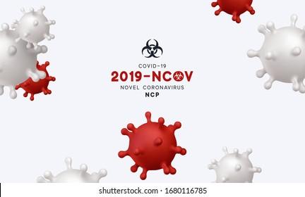 Novel Coronavirus (2019-nCoV). Virus Covid 19-NCP. Coronavirus nCoV denoted is single-stranded RNA virus. Background with realistic 3d red and white viruses cells. danger symbol vector illustration.