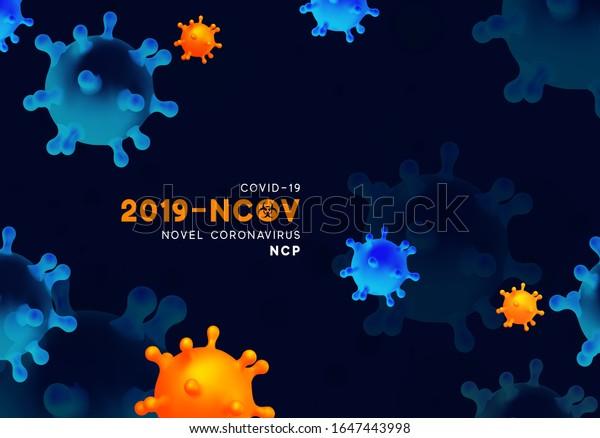 Novel Coronavirus (2019-nCoV). Virus Covid 19-NCP. Coronavirus nCoV denoted is single-stranded RNA virus. Background with realistic 3d blue and orange virus cells. danger symbol vector illustration.